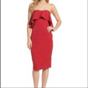 🆕 NWOT Red Strapless Chelsea28 Dress With Pockets
